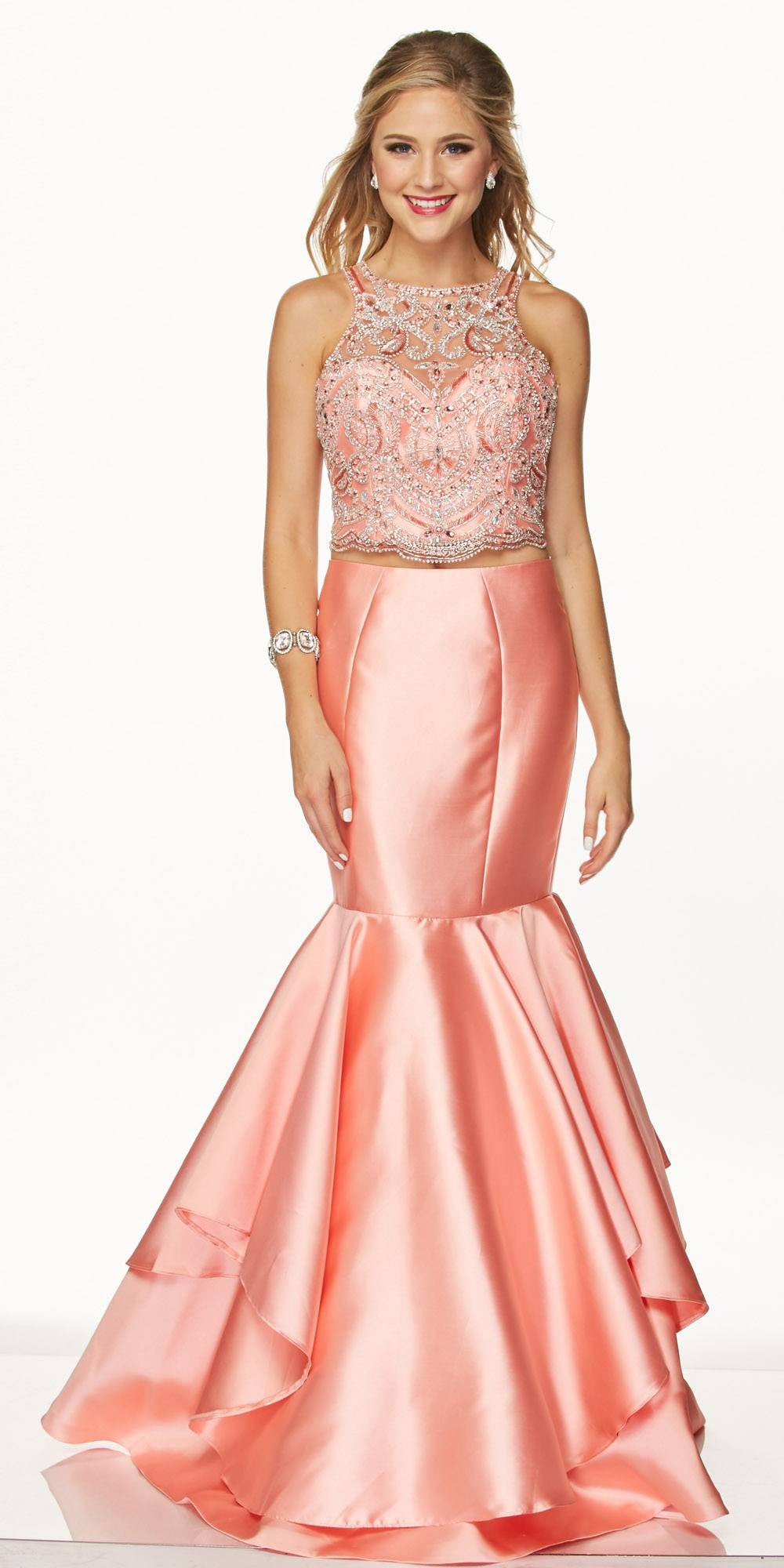 4cc099d76cb72 ... Juliet 631 Jewel Embellished Mermaid Style Two-Piece Prom Dress Coral  ...