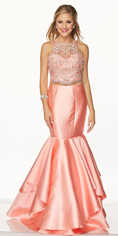 Juliet 631 Jewel Embellished Mermaid Style Two-Piece Prom Dress Coral