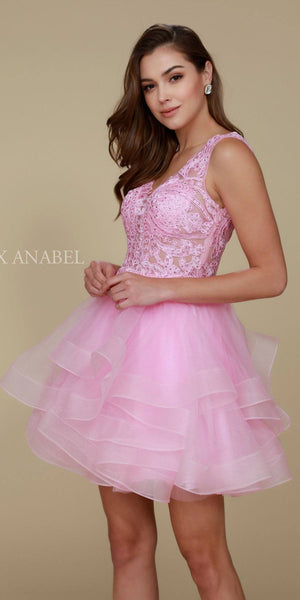 Deep V-Neck Appliqued Bodice Ruffled Skirt Short Prom Dress Blush