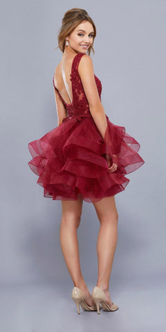 Deep V-Neck Appliqued Bodice Ruffled Skirt Short Prom Dress Burgundy