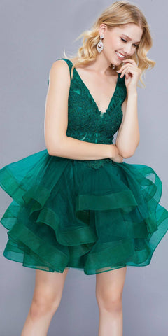 Deep V-Neck Appliqued Bodice Ruffled Skirt Short Prom Dress Green