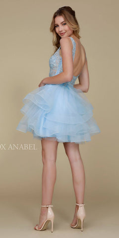 Deep V-Neck Appliqued Bodice Ruffled Skirt Short Prom Dress Ice Blue Back View