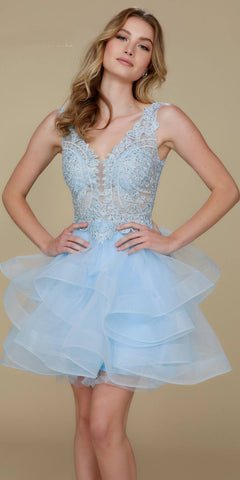Deep V-Neck Appliqued Bodice Ruffled Skirt Short Prom Dress Ice Blue