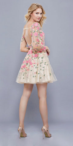 Long Sleeves Embroidered Short Floral Prom Dress Open Back