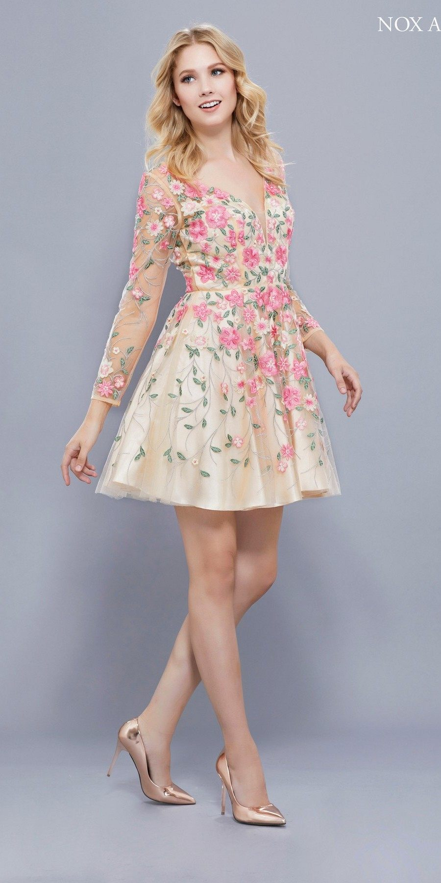 Long Sleeves Embroidered Short Floral Prom Dress Open Back ...