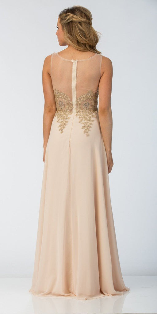 Starbox USA 6311 Appliqued Bodice A-line Sleeveless Formal Dress Champagne