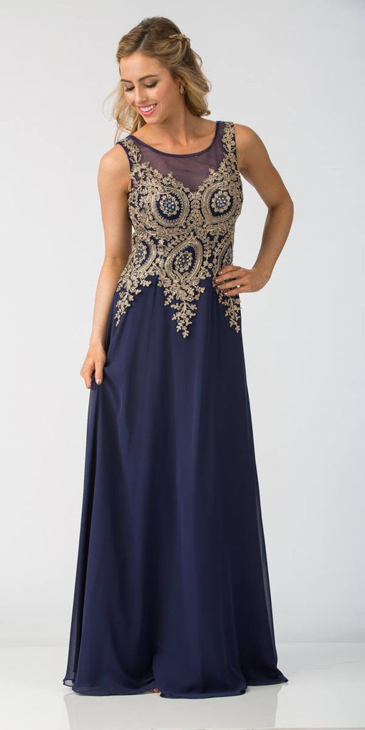 Starbox USA 6311 Appliqued Bodice A-line Sleeveless Formal Dress Navy