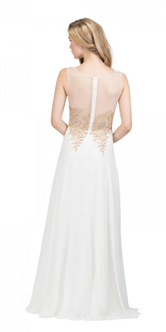 Starbox USA 6311 Appliqued Bodice A-line Sleeveless Formal Dress Off White Back View