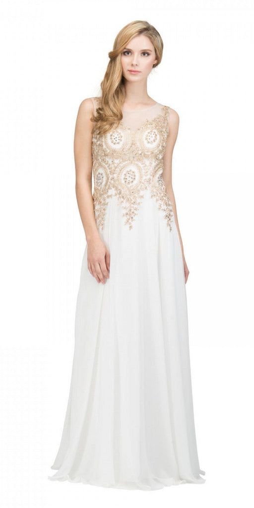 Starbox USA 6311 Appliqued Bodice A-line Sleeveless Formal Dress Off White