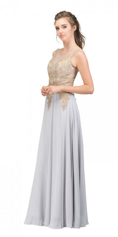 Starbox USA 6311 Appliqued Bodice A-line Sleeveless Formal Dress Silver