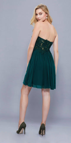 Green Short Homecoming Dress Appliqued Top Strapless