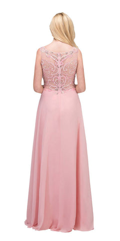 Starbox USA 6315 Bateau Neck Embellished A-Line Formal Dress Blush Back View