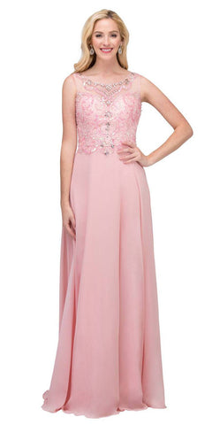 Starbox USA 6315 Bateau Neck Embellished A-Line Formal Dress Blush