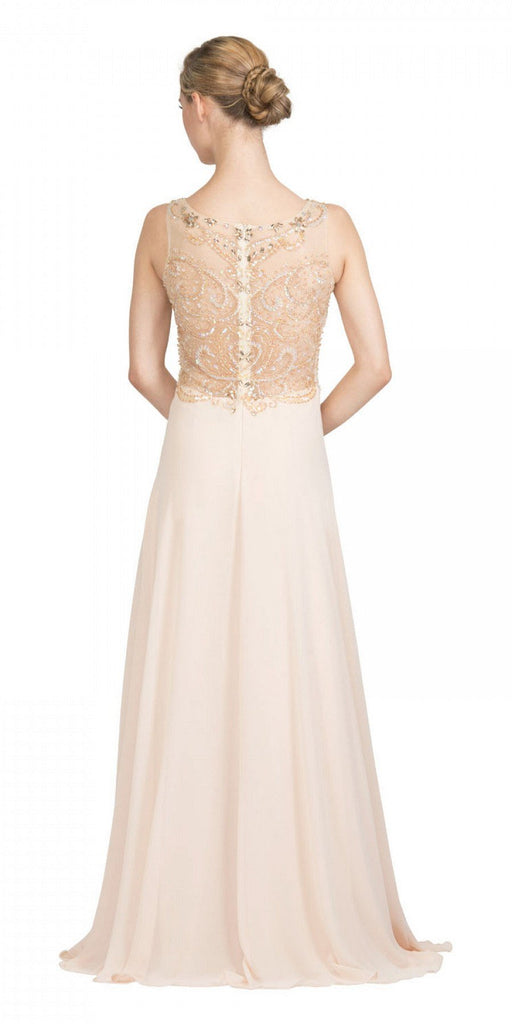Starbox USA 6315 Bateau Neck Embellished A-Line Formal Dress Champagne Back View