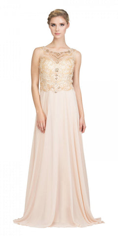 Starbox USA 6315 Bateau Neck Embellished A-Line Formal Dress Champagne