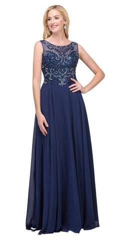 Starbox USA 6315 Bateau Neck Embellished A-Line Formal Dress Navy Blue