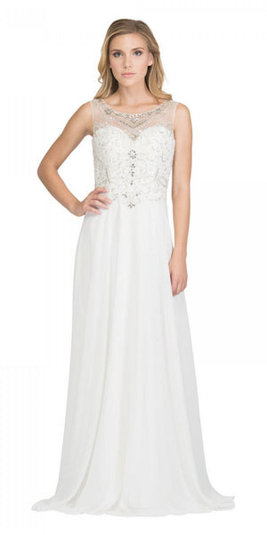 Starbox USA 6315 Bateau Neck Embellished A-Line Formal Dress Off White