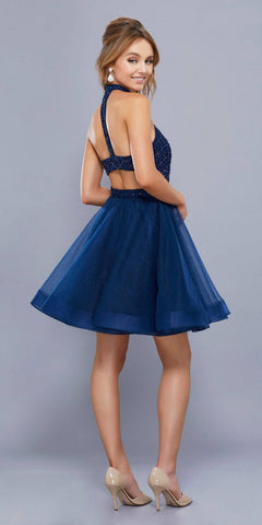 Cut Out Back Beaded Top Tulle Skirt Short Prom Dress Navy Blue