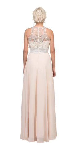 Starbox USA L6316 Champagne Empire Waist A-Line Formal Dress Beaded Bodice Back View