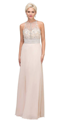 Silver Prom Ball Gown Illusion Neckline with Pockets