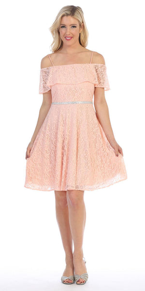 Celavie 6317 Ruffled Off Shoulder Lace A-Line Wedding Guest Dress Blush
