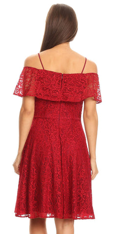 Ruffled Off Shoulder Lace A-Line Wedding Guest Dress Burgundy