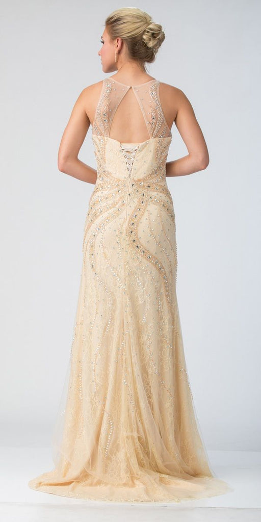 Champagne Beaded Long Formal Dress Cut-Out and Lace-Up Back