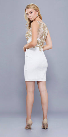 Ivory Gold V-Neck Embroidered Bodice Fitted Homecoming Short Dress