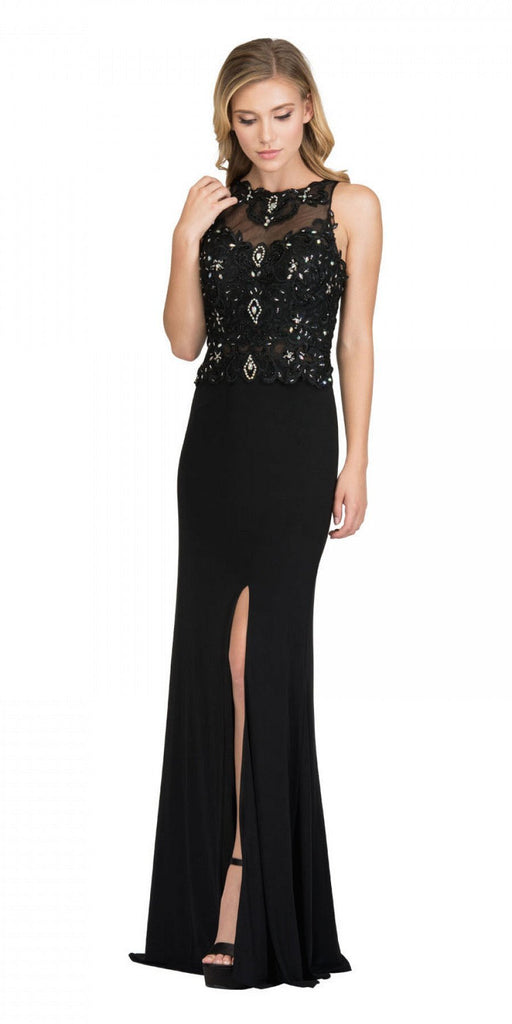 Starbox USA 6319 - Long Black Prom Gown Front Slit Sleeveless