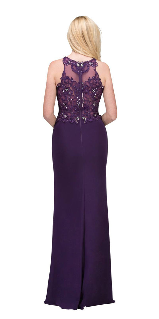Starbox USA 6319 - Long Eggplant Prom Gown Front Slit Sleeveless Back View