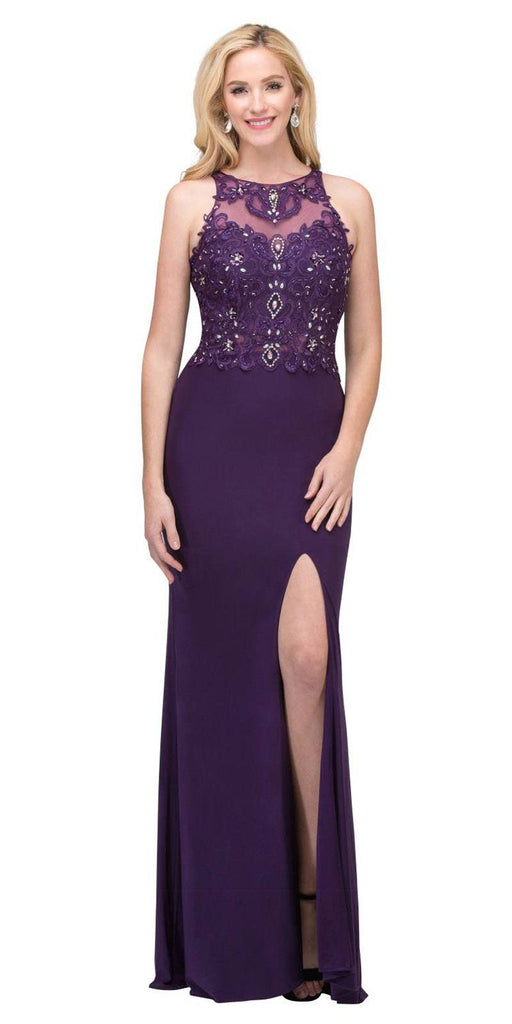 Starbox USA 6319 - Long Eggplant Prom Gown Front Slit Sleeveless
