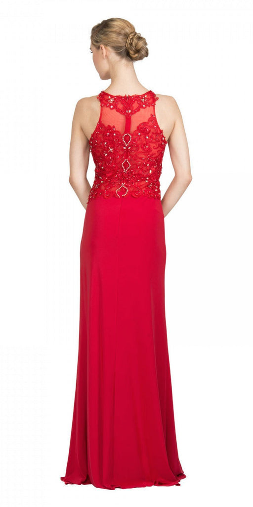 Starbox USA 6319 - Long Red Prom Gown Front Slit Sleeveless Back View