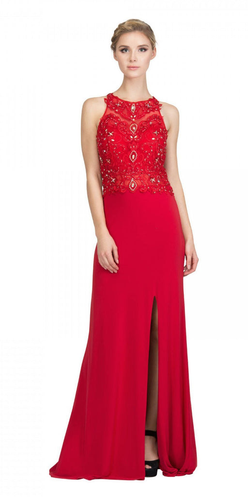 Starbox USA 6319 - Long Red Prom Gown Front Slit Sleeveless