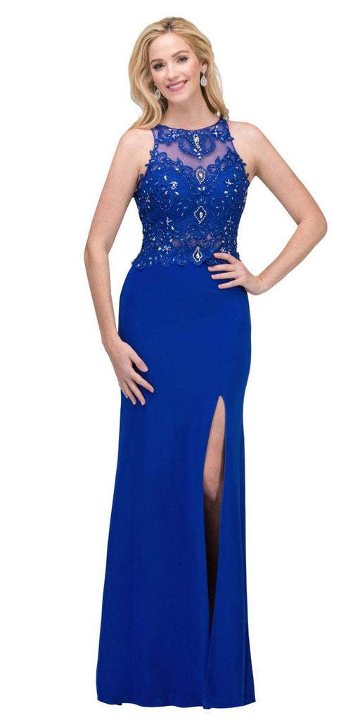 Starbox USA 6319 - Long Royal Blue Prom Gown Front Slit Sleeveless