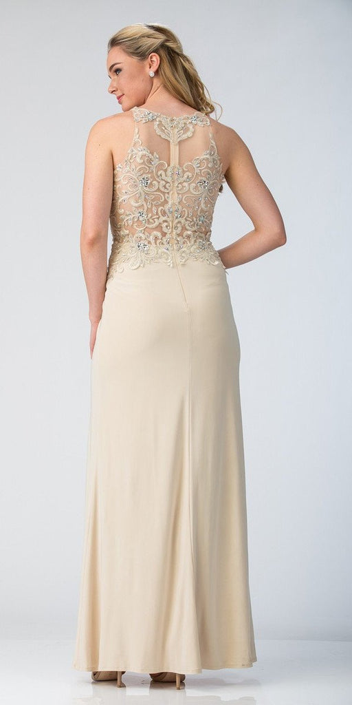 Starbox USA 6319 - Long Champagne Prom Gown Front Slit Sleeveless Back View