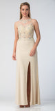 Starbox USA 6319 - Long Champagne Prom Gown Front Slit Sleeveless