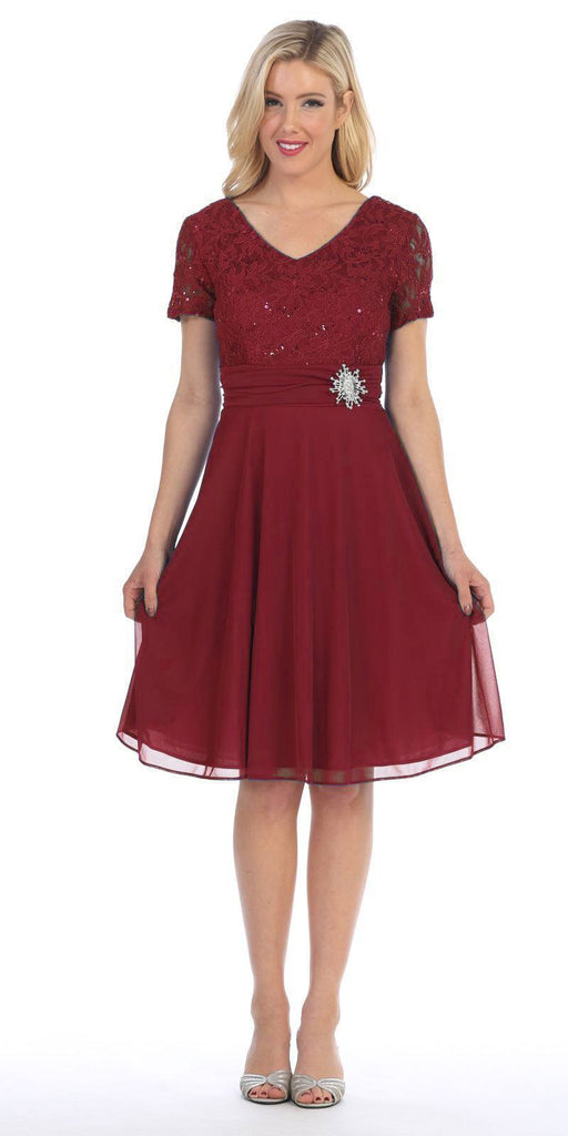 Celavie 6320 - Knee Length Burgundy Dress With Short Sleeves Lace Bodice Side View