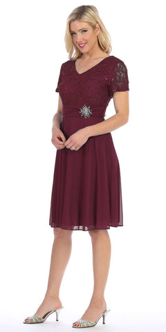 Celavie 6320 - Knee Length Plum Dress With Short Sleeves Lace Bodice Side View