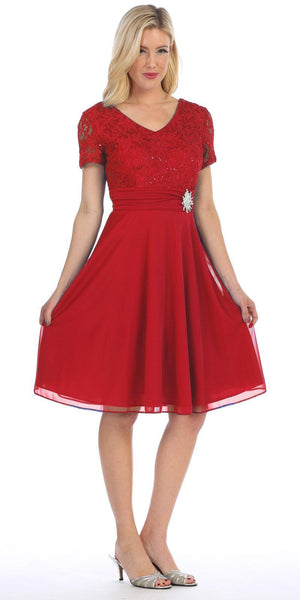 Celavie 6320 - Knee Length Red Dress With Short Sleeves Lace Bodice Side View