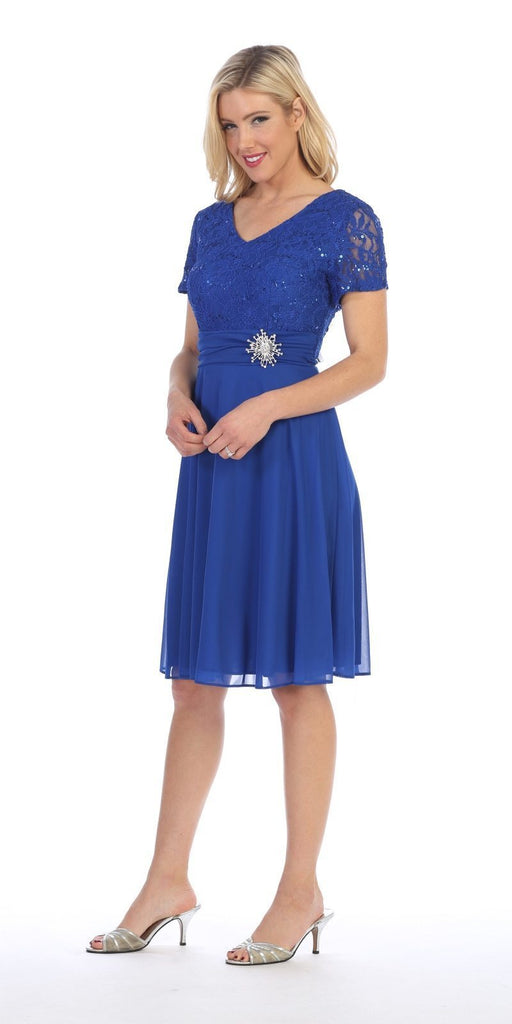 Celavie 6320 - Knee Length Royal Blue Dress With Short Sleeves Lace Bodice Side View