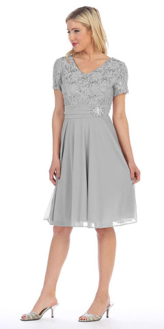 Celavie 6320 - Knee Length Silver Dress With Short Sleeves Lace Bodice Side View