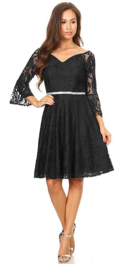 Celavie 6321 Lace V-Neck Wedding Guest Dress with Bell Sleeves Black