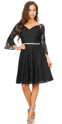 8a533cb699 Celavie 6321 Lace V-Neck Wedding Guest Dress with Bell Sleeves Black