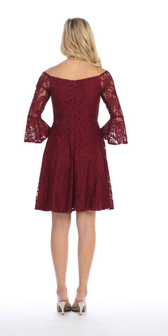 Celavie 6321 Lace V-Neck Wedding Guest Dress with Bell Sleeves Burgundy Back View