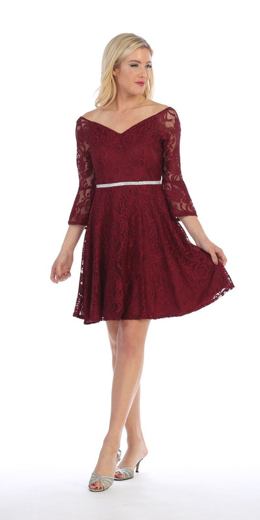 Celavie 6321 Lace V-Neck Wedding Guest Dress with Bell Sleeves Burgundy Side View