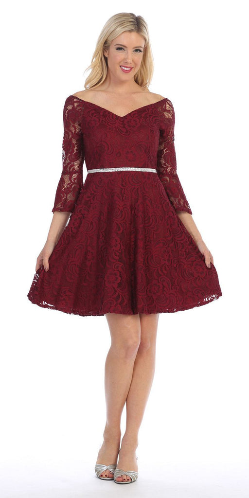Celavie 6321 Lace V-Neck Wedding Guest Dress with Bell Sleeves Burgundy
