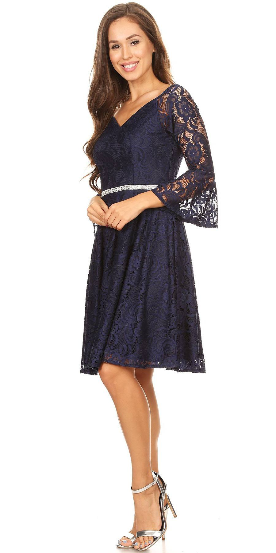 Lace V-Neck Wedding Guest Dress with Bell Sleeves Navy Blue ...