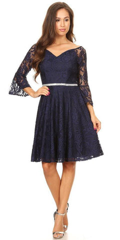 Lace V-Neck Wedding Guest Dress with Bell Sleeves Navy Blue