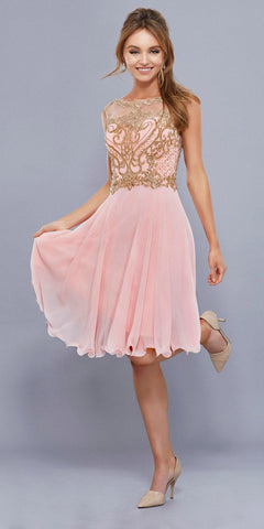 Bashful Pink Illusion Embroidered Top Knee Length Homecoming Dress