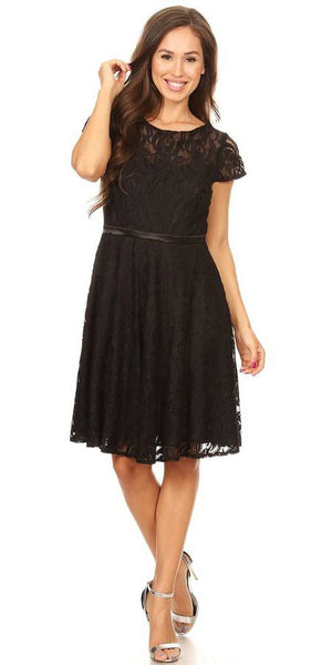 Celavie 6322 - Short Sleeve Lace Knee Length Dress Black